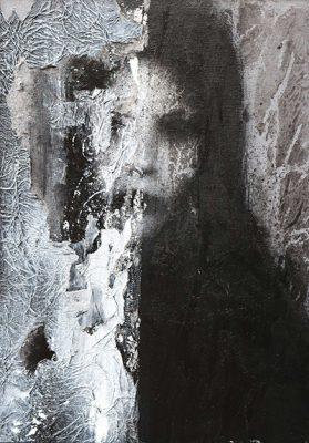 Ritratto III di DAVIDE STASINO, smalto su cartone intelato, 25x35 cm, 2016,  Pezzo Unico